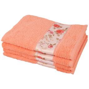 Handtuch Blumen 4-teilig, apricot