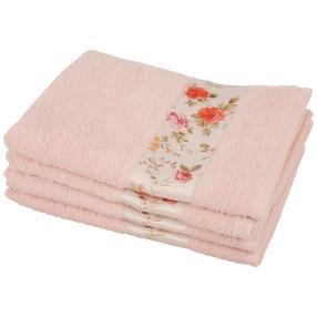 Handtuch Blumen 4-teilig rosa