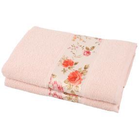 Duschtuch Blumen 2-teilig rosa