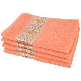 Handtuch Ornament 4-teilig, lachs