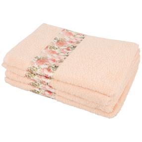 Handtuch Blumen 4-teilig, rosé