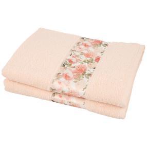 Duschtuch Blumen 2-teilig, rosé