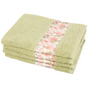 Handtuch Blumen 4-teilig, grün