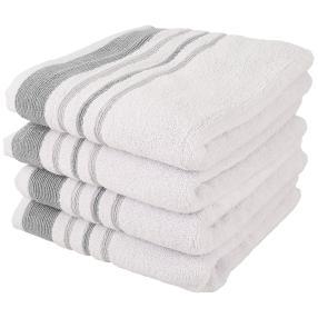 Handtuchset 4-teilig, Streifen grau