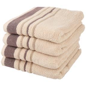 Handtuchset 4-teilig, Streifen beige/braun