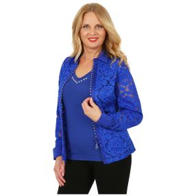 FASHION NEWS 3D-Bluse Spitze Strass-Zipper royal