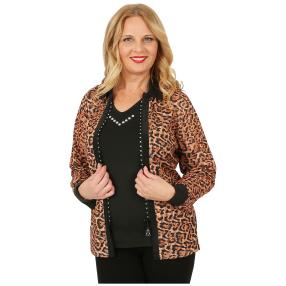 FASHION NEWS 3D-Bluse Druck Strass-Zipper Leopard