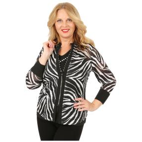 FASHION NEWS 3D-Bluse Druck Strass-Zipper Zebra
