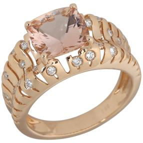 STAR Ring 585 Roségold AAA Morganit