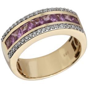 STAR Ring 585 Gelbgold Saphir pink