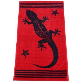 Velours-Strandlaken Gecko, rot-dunkelblau