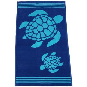 Velours-Strandlaken Schildkröte, blau-türkis