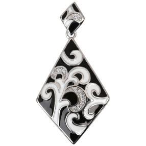 Anhänger Emaille 925 Sterling Silber Zirkonia