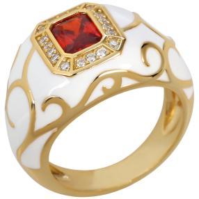 Ring Emaille 925 Silber vergoldet Zirkonia