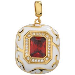Anhänger Emaille 925 Silber vergoldet Zirkonia