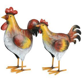 Deko-Paar Hahn und Huhn aus Eisen