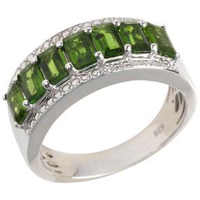 Ring 925 Sterling Silber rhodiniert Chromdiopsid