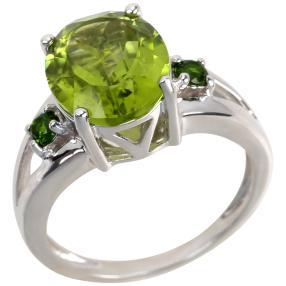 Ring 925 Sterling Silber rhodiniert Peridot