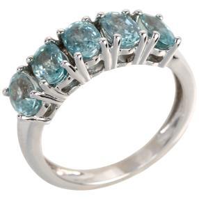 Ring 925 Sterling Silber rhodiniert Zirkon blau