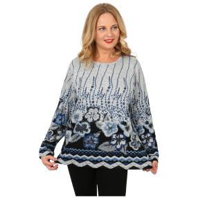 Damen-Feinstrick-Pullover 'Ella' grau/blau