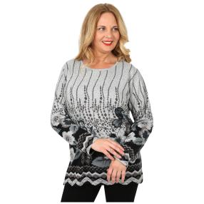 Damen-Feinstrick-Pullover 'Ella' grau/schwarz