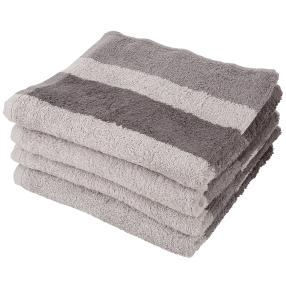 Handtuch 4er Set, Streifen grau