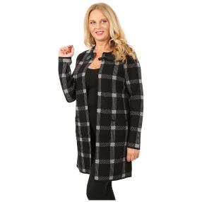 Lange Damen-Strickjacke 'Glasgow' schwarz/grau