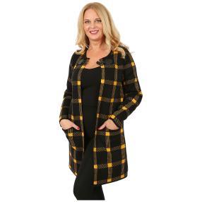 Lange Damen-Strickjacke 'Glasgow' schwarz/gelb
