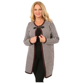 Lange Damen-Strickjacke 'Edinburgh' braun/ecrue