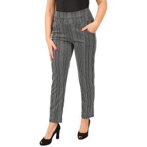 Damen-Hose 'Bamboo Stripe' schwarz/offwhite