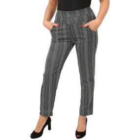 Damen-Hose 'Bamboo Stripe' schwarz/smaragd
