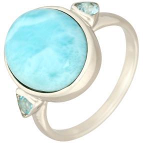 Ring 950 Silber rhodiniert, Larimar, ca. 7,36 ct.