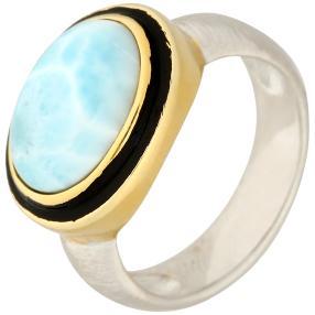 Ring 950 Silber rhodiniert Larimar, ca. 6,03 ct.