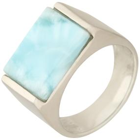 Ring 950 Silber rhodiniert Larimar,  rechteckig