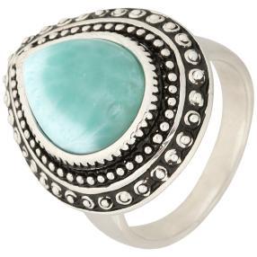 Ring 950 Silber rhodiniert Larimar, ca. 5,56 ct.