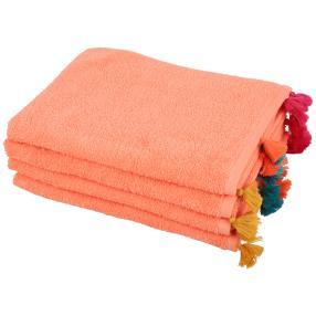 Handtuch Pompom 4tlg. orange