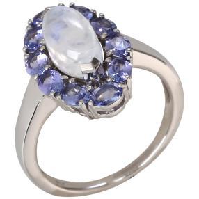 Ring 925 St. Silber rhodiniert Regenbogenmondstein