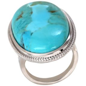 Ring 925 St. Silber rhodiniert Türkis stabilisiert