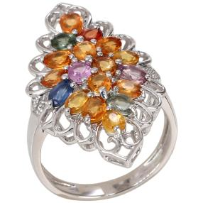 Ring 925 St. Silber rhodiniert Saphir Multicolor