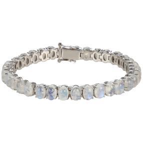 Armband 925 St. Silber rhod. Regenbogenmondstein