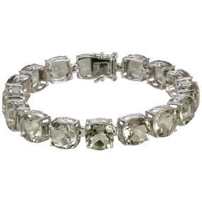 Armband 925 Sterling Silber rhodiniert Prasiolith
