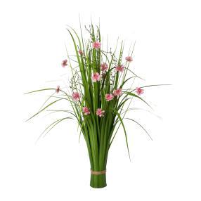 Grasbusch mit Blüten, 86cm, rosa