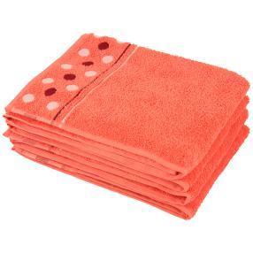 Handtuch Punkte 4er Set, koralle