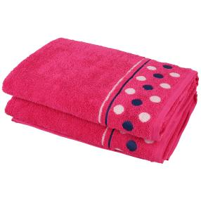 Duschtuch Punkte 2-teilig, pink