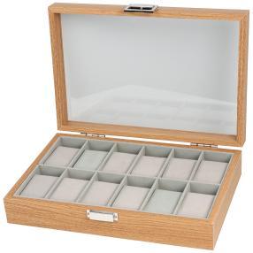 Holzuhrenbox für 12 Uhren mit Glasdeckel