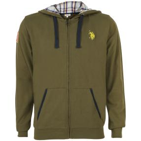 US. POLO ASSN. Sweat-Jacke mit Kapuze oliv