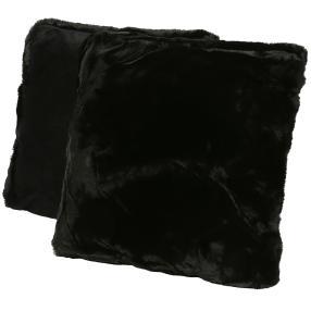 Fellimitat-Kissen schwarz, 2er Set