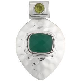 Anhänger 925 Sterling Silber Achat grün
