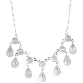 Collier 925 Sterling Silber Regenbogenmondstein