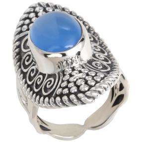 Ring 925 Sterling Silber Chalzedon blau
